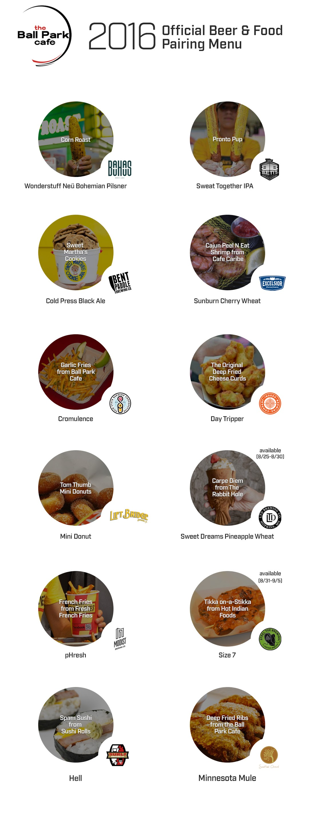 2016 Food Pairing Menu